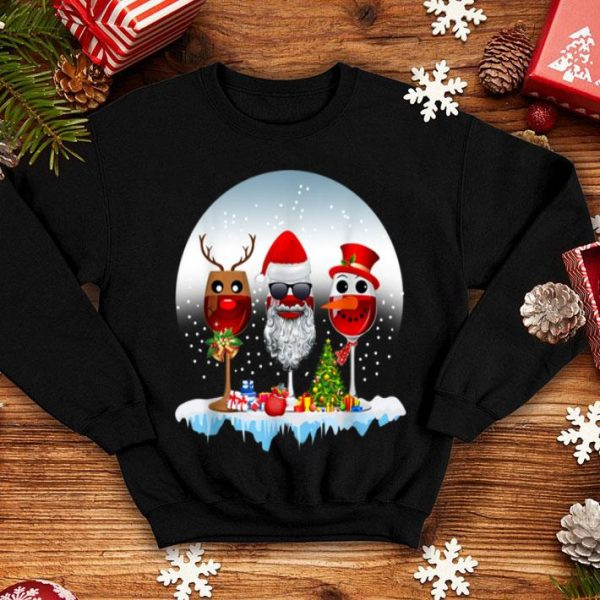 Awesome Three Glasses of Red Wine Santa Hat Christmas sweater