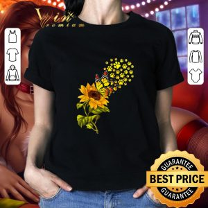 Funny Dog Paw Sunflower And Butterfly shirt