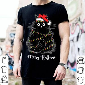 Merry Fluffmas Cats With Santa Hat Xmas Lights Christmas sweater