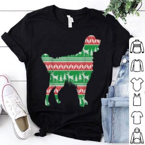 Nice Funny Golden retriever Christmas Light Outline Ugly sweater