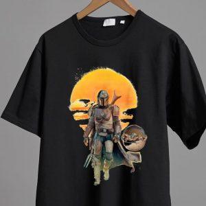 Nice Star Wars The Mandalorian The Child Baby Yoda Sunset shirt