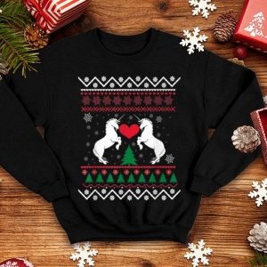 Nice Unicorn Ugly Christmas Sweater With Xmas Trees sweater