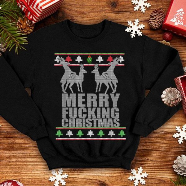 Official MERRY FUCKING CHRISTMAS Reindeer Hump Ugly Xmas sweater