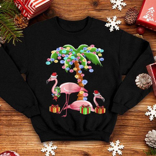 Pretty Christmas Flamingo Funny Santa By Sea Palm Tree Lights sweater