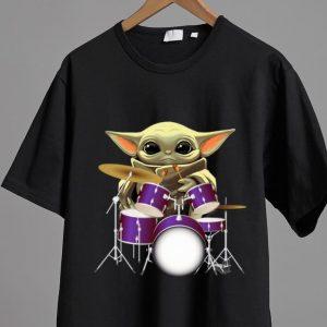 Nice Star Wars Baby Yoda Playing Drum Drummers shirt