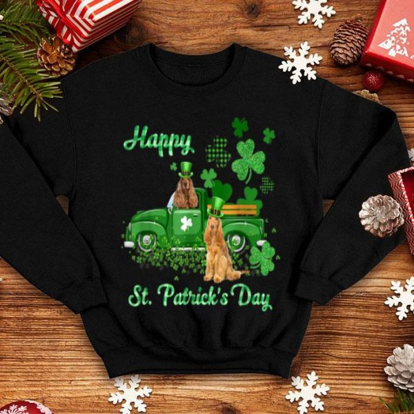 Awesome Cocker Spaniel Riding Green Truck St Patrick's Day Gifts shirt