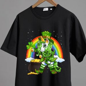 Official Shamrock Flossing Unicorn Leprechaun St. Patrick's Day shirt 1