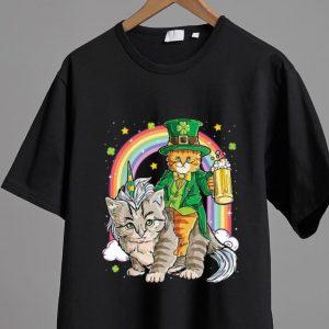 Pretty Cat Unicorn Leprechaun Riding Caticorn St Patricks Day Rainbow shirt