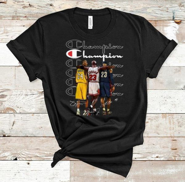 Pretty Kobe Bryant Michael Jordan and LeBron James Champion signatures shirt