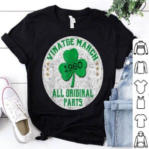 Official Vintage March 1980 St Patrick's Day Shamrock 40th Birthday shirt
