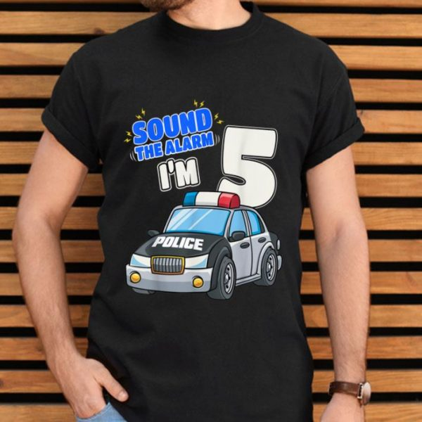 Kids Police Car 5th Birthday Shirt 5 Years Old Cop Officer shirt