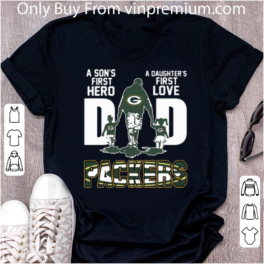Nice Dad A Son's First Hero A Daughter's First Love Green Bay Packers shirt