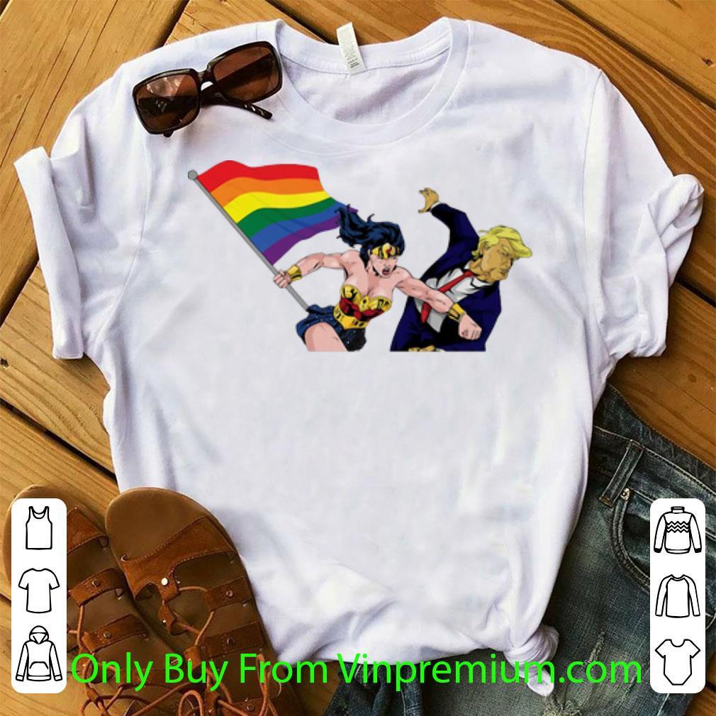 Hot Wonder Woman Punch Trump LGBT shirt