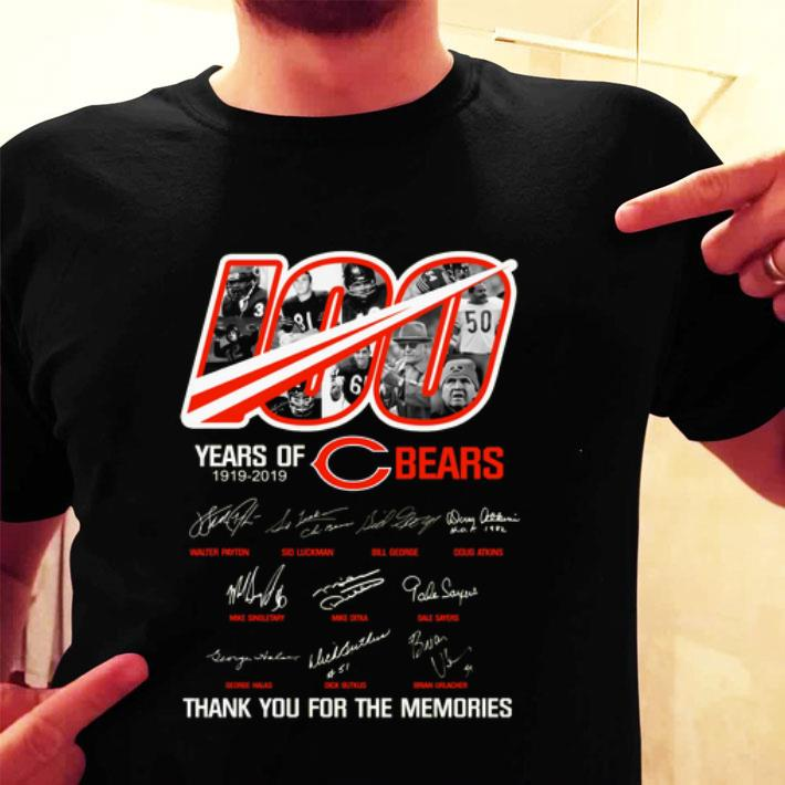100 years of Chicago Bears 1919-2019 thank you for the memories shirt