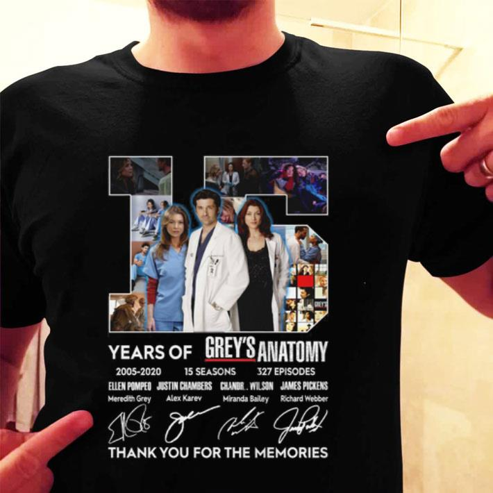 15 years of Grey's Anatomy 2005-2020 thank you for the memories shirt