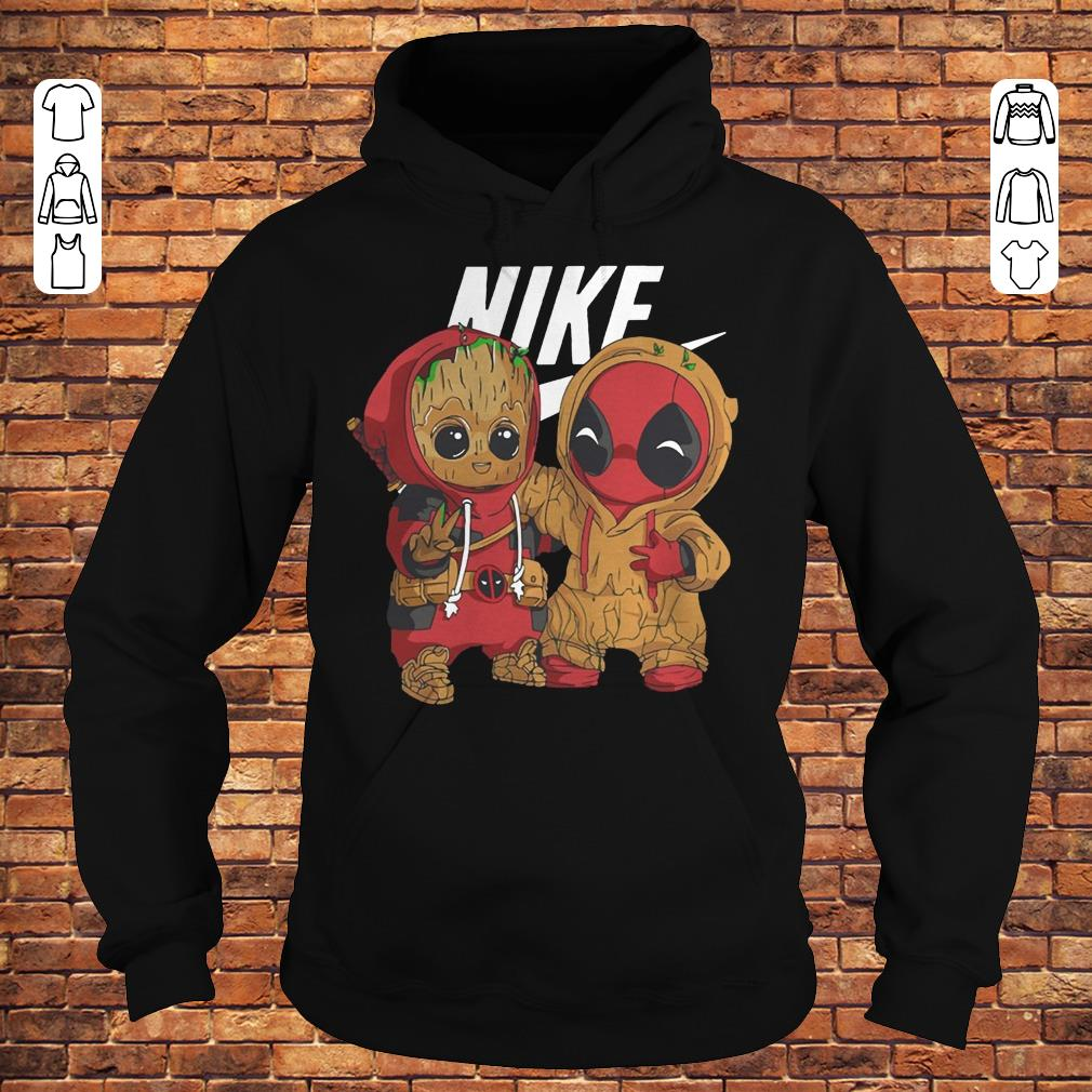 Baby Groot And Deadpool Nike mashup shirt Hoodie