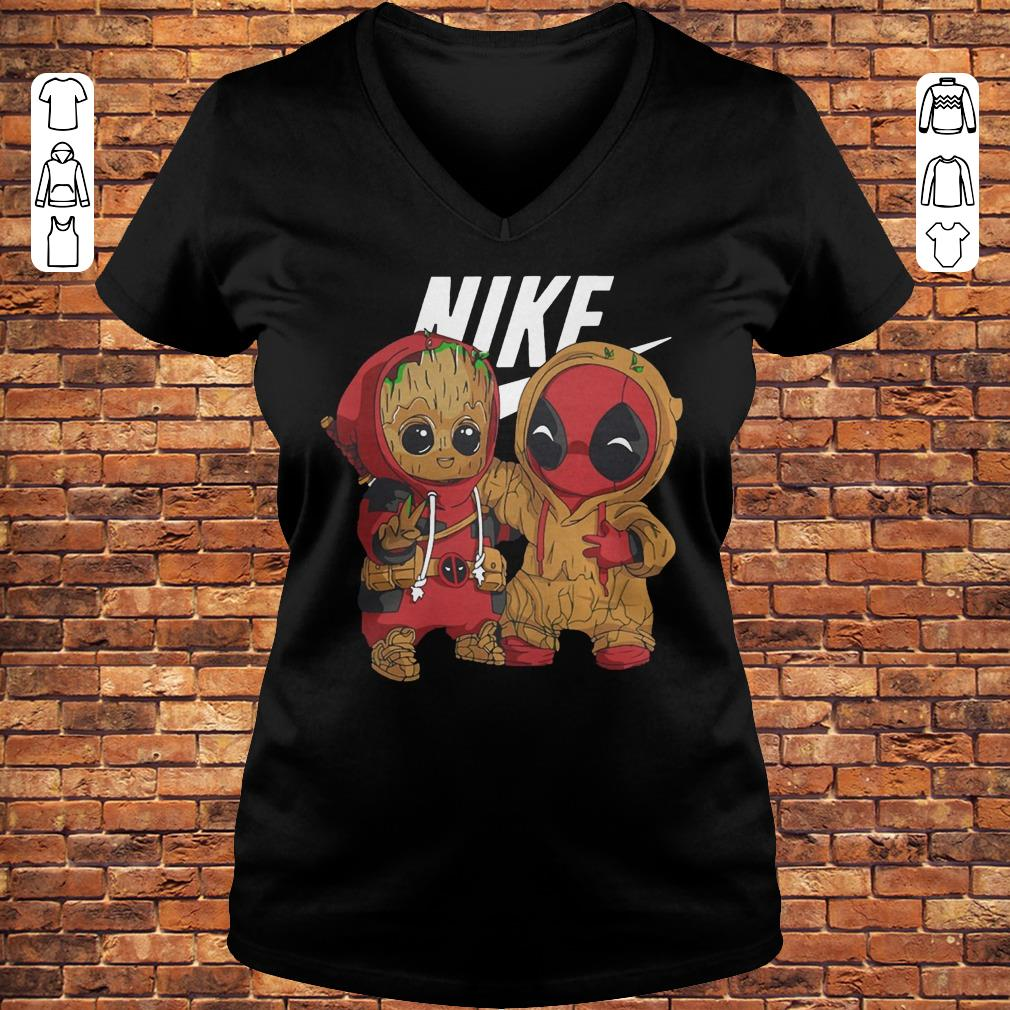 Baby Groot And Deadpool Nike mashup shirt Ladies V-Neck