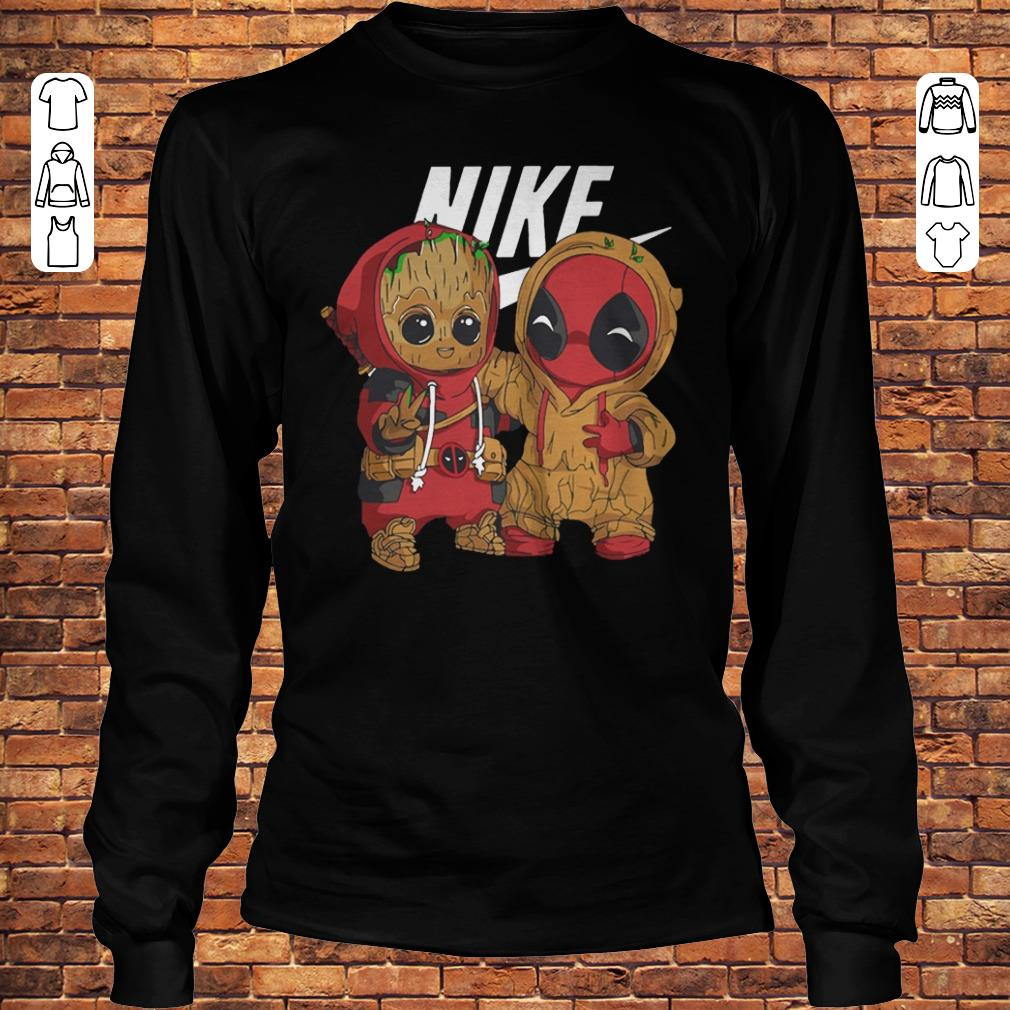 Baby Groot And Deadpool Nike mashup shirt Longsleeve Tee Unisex