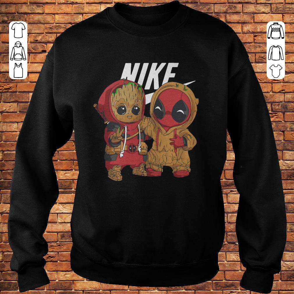 Baby Groot And Deadpool Nike mashup shirt