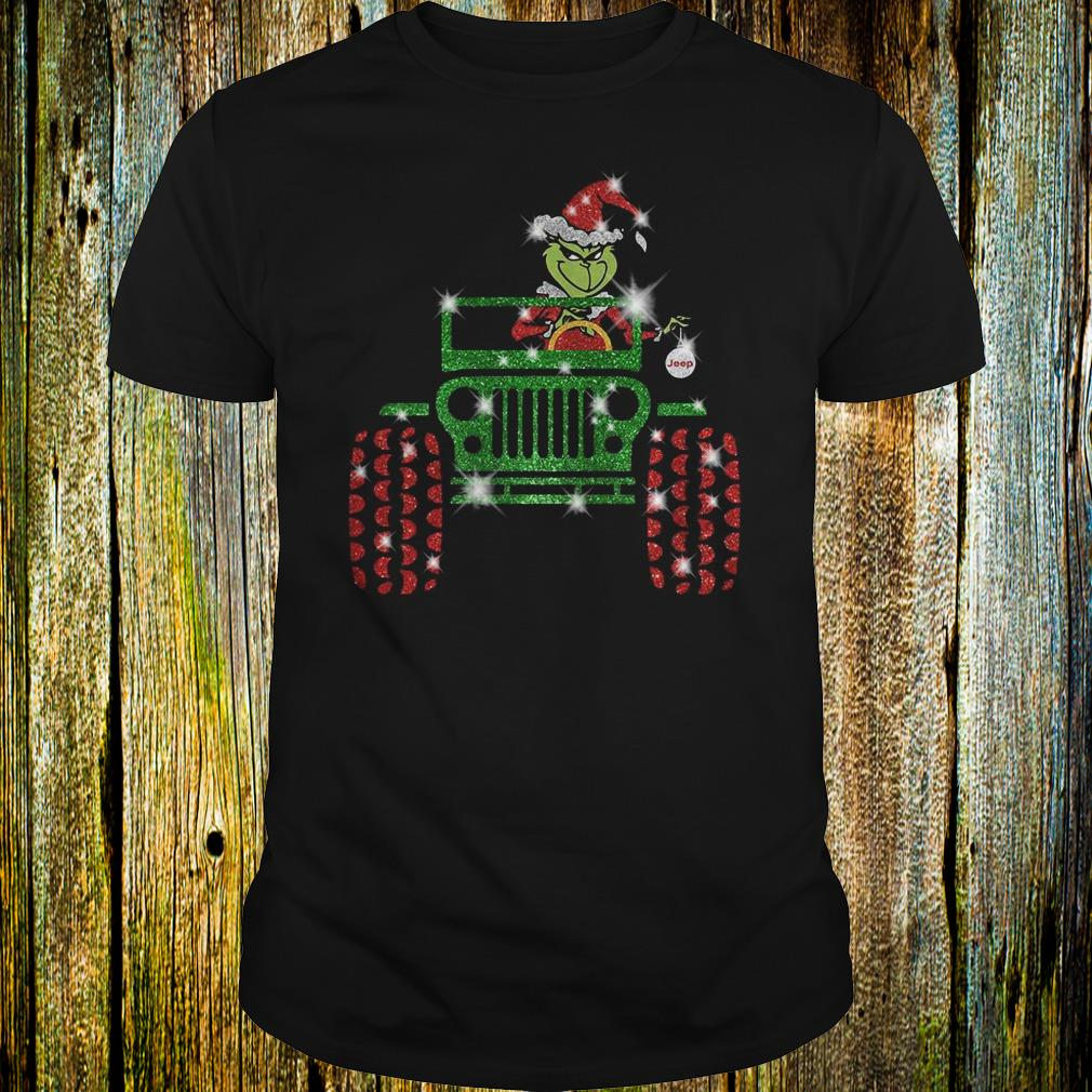 Best Price Grinch Jeep christmas hat sparkly glitter shirt