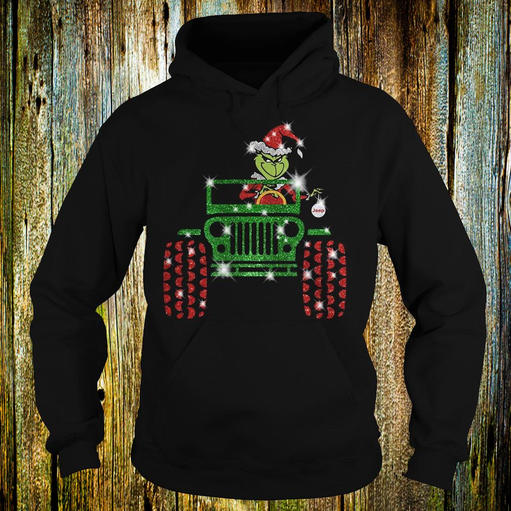 Best Price Grinch Jeep christmas hat sparkly glitter shirt Hoodie