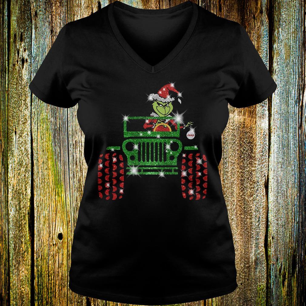 Best Price Grinch Jeep christmas hat sparkly glitter shirt Ladies V-Neck
