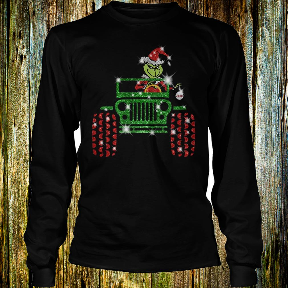 Best Price Grinch Jeep christmas hat sparkly glitter shirt Longsleeve Tee Unisex