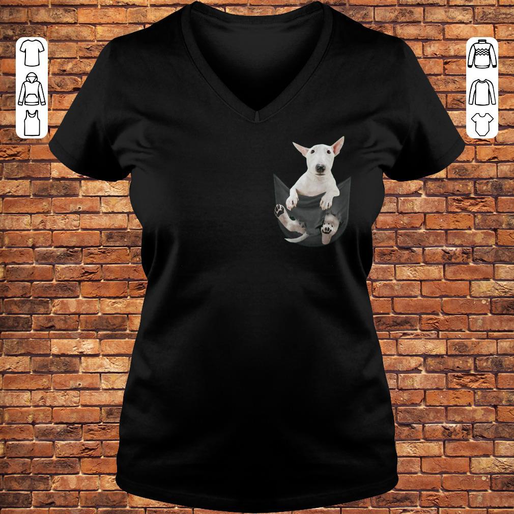Bull Terrier inside black Tiny Pocket shirt Ladies V-Neck