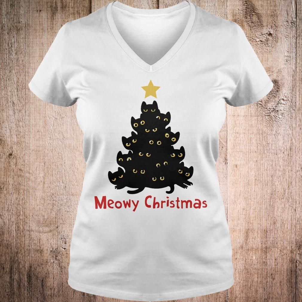 Cat Meowy Christmas Tree sweatshirt Ladies V-Neck
