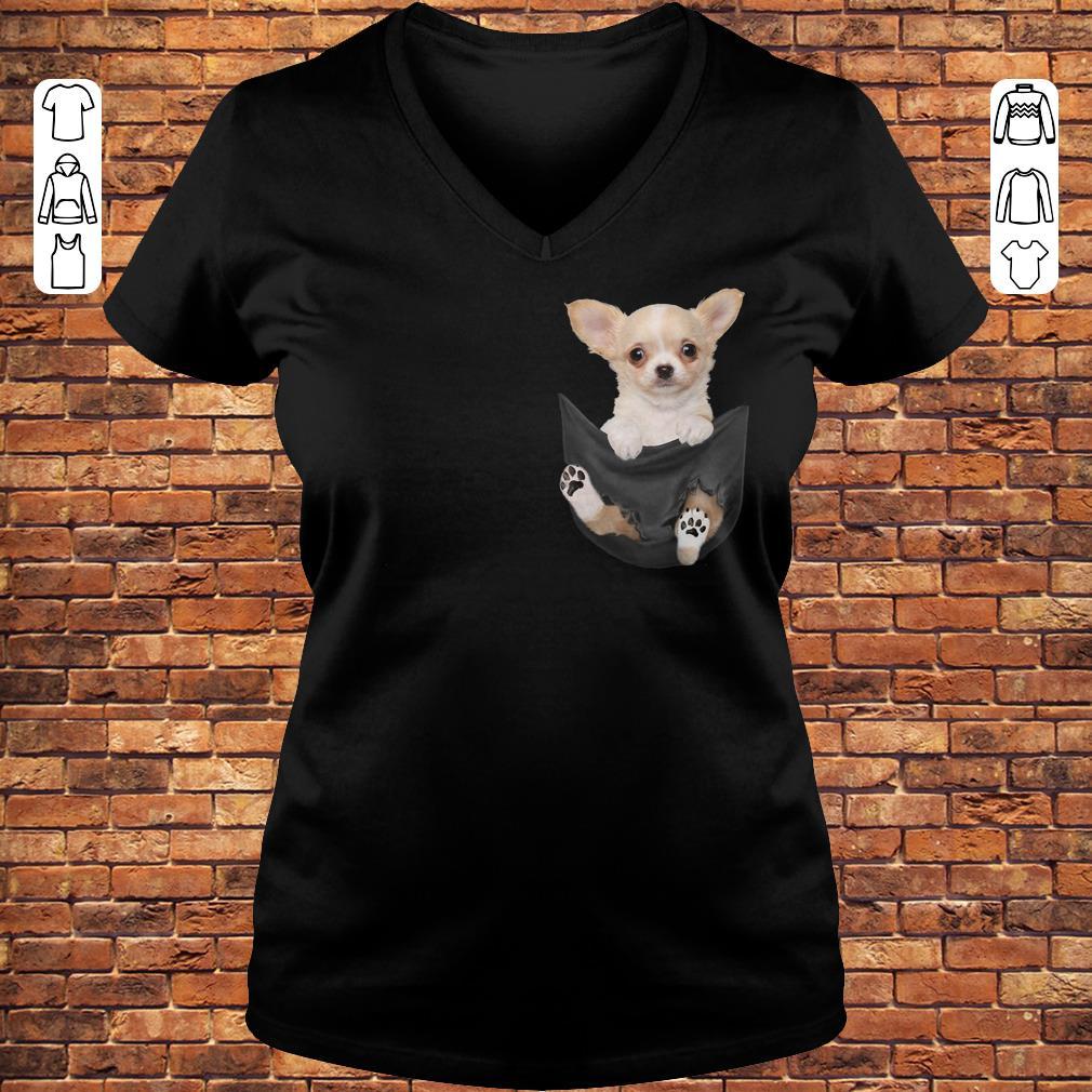 Chihuahua Tiny pocket shirt Ladies V-Neck