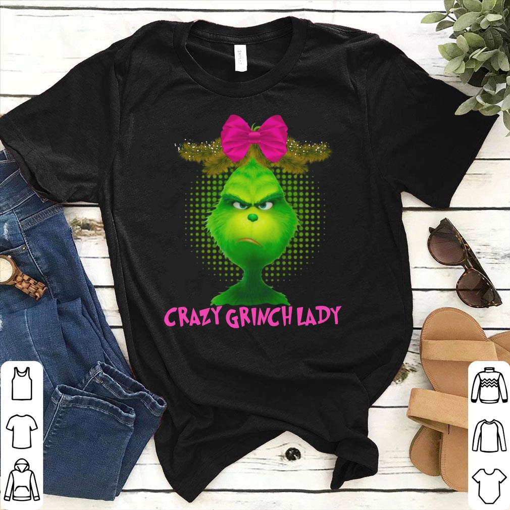 Crazy Grinch lady with pink bow hair shirt