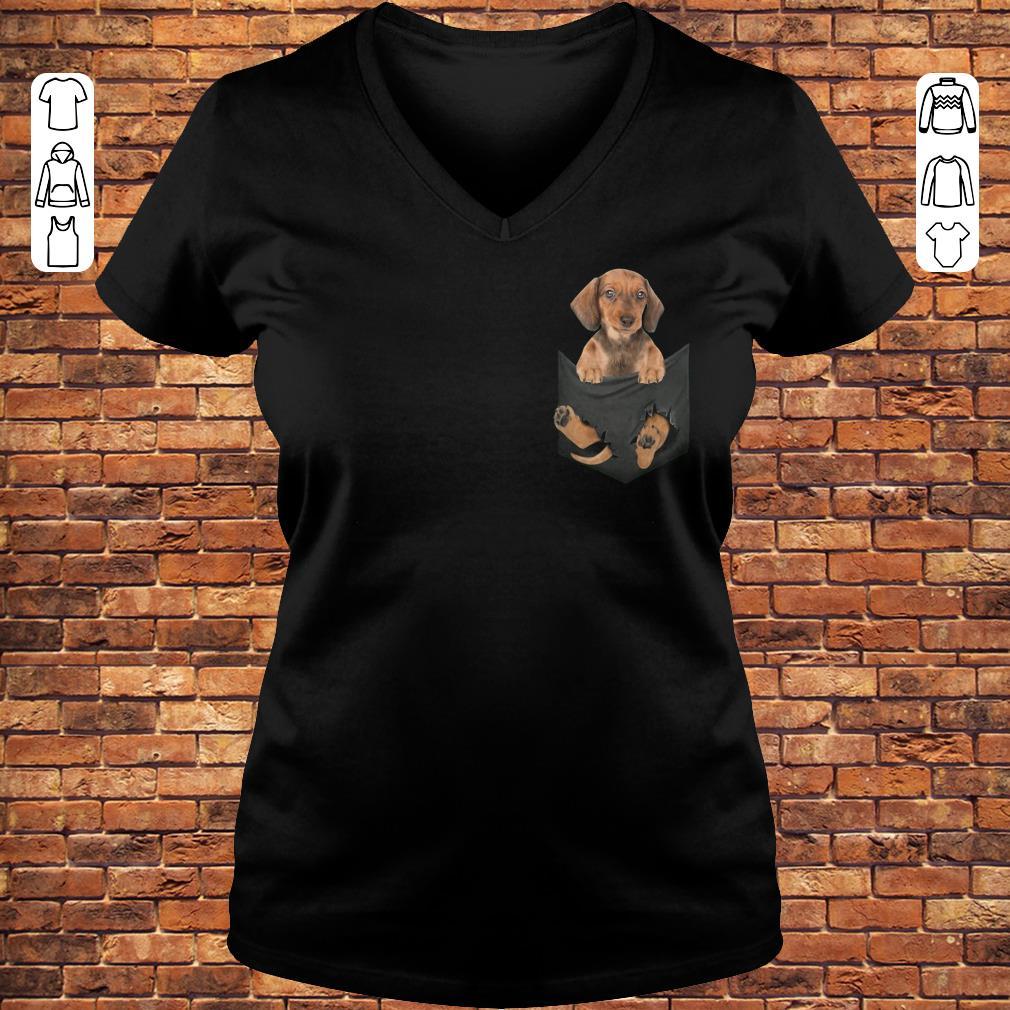 Dachshund in Tiny Pocket shirt Ladies V-Neck