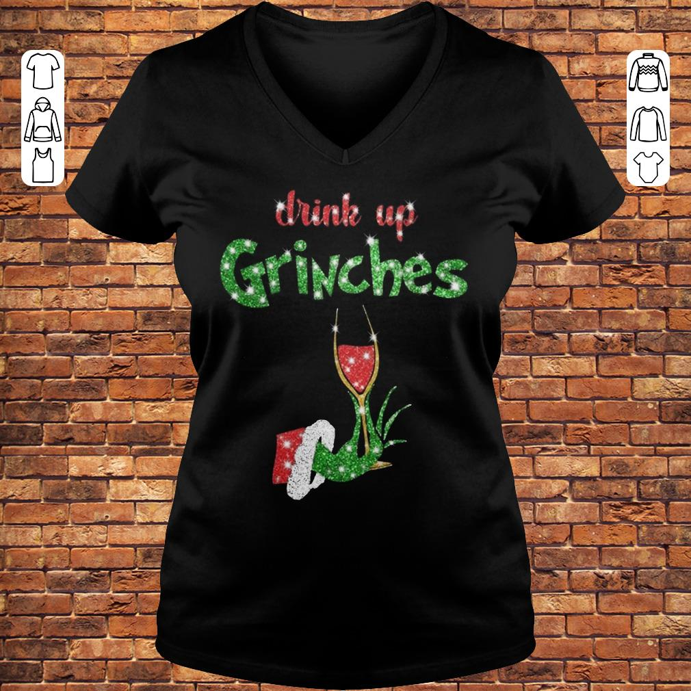 Drink up grinches wine shirt Ladies V-Neck