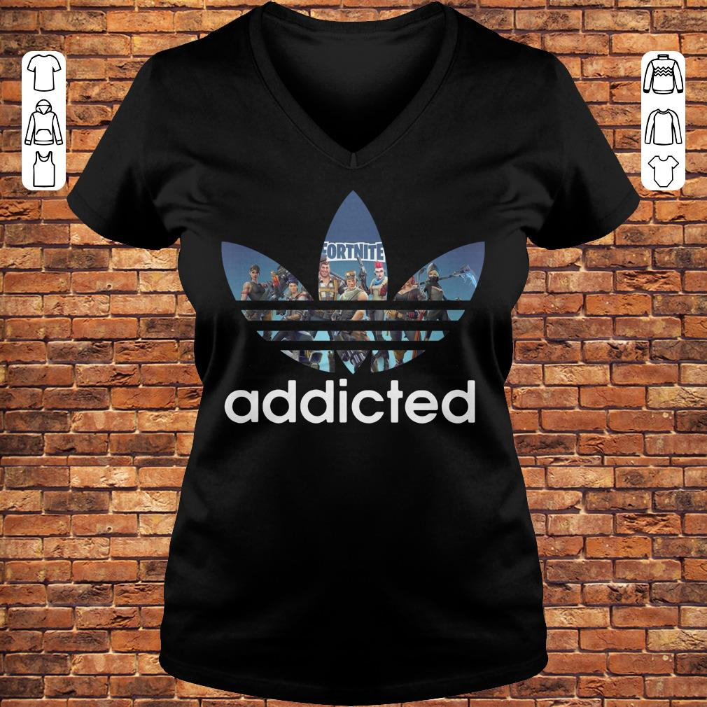 Fortnite addicted Adidas shirt Ladies V-Neck
