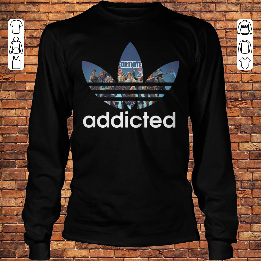 Fortnite addicted Adidas shirt Longsleeve Tee Unisex