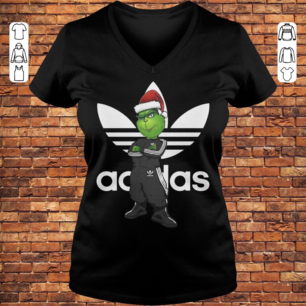 Grinch Santa Adidas shirt Ladies V-Neck