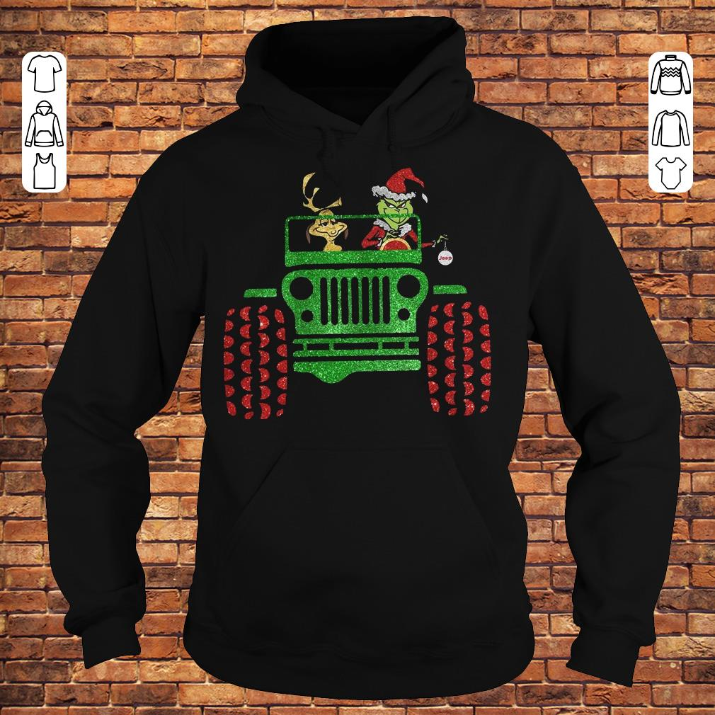 Grinch and his dog on Jeep shirt Hoodie