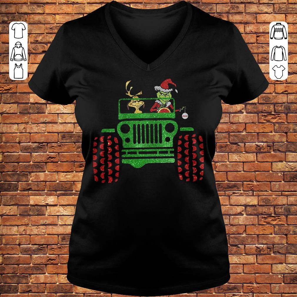 Grinch and his dog on Jeep shirt Ladies V-Neck