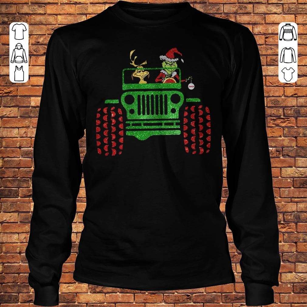 Grinch and his dog on Jeep shirt Longsleeve Tee Unisex