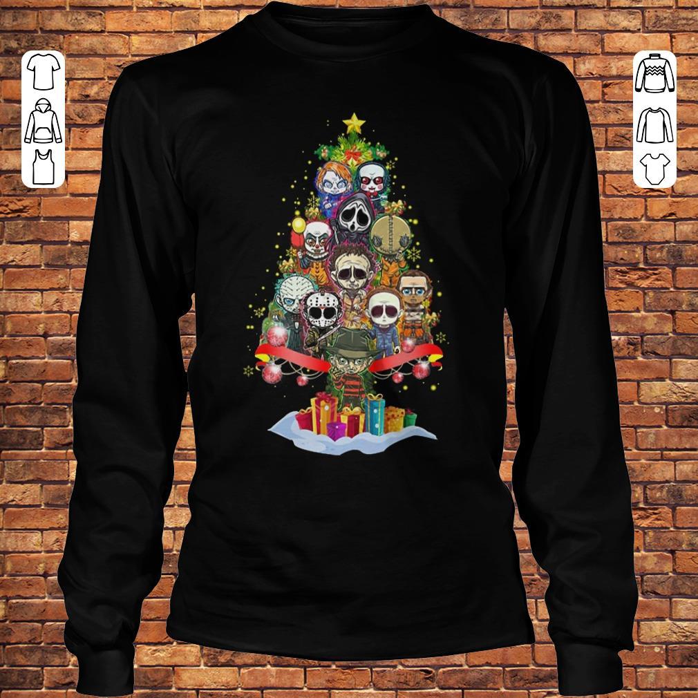 Horror characters nightmare christmas tree shirt Longsleeve Tee Unisex