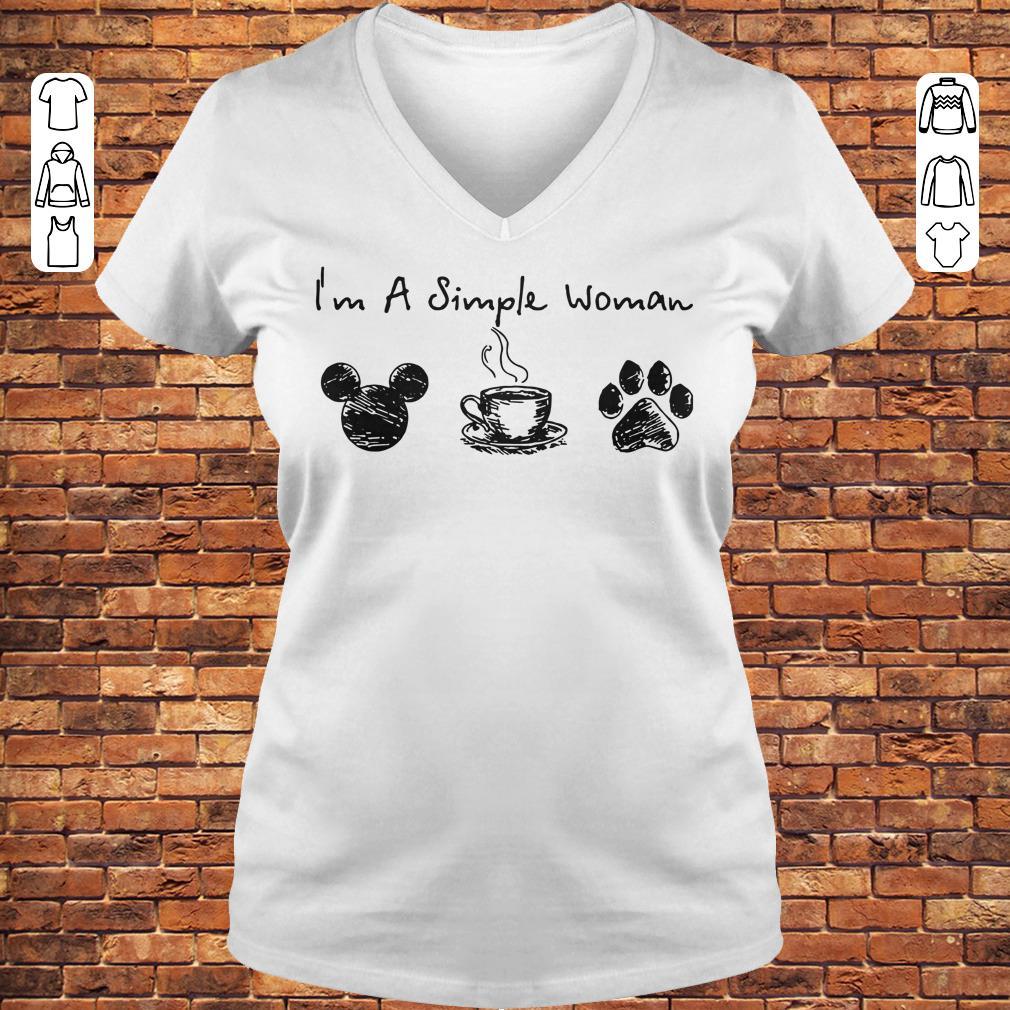 I'm a simple woman I like Mickey Minnie Mouse Coffee and Dog shirt Ladies V-Neck
