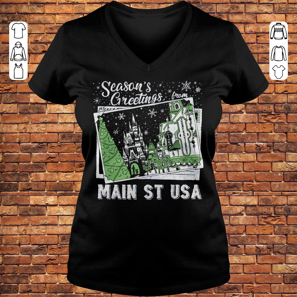 Picture Main St USA Season's Greetings from shirt Ladies V-Neck