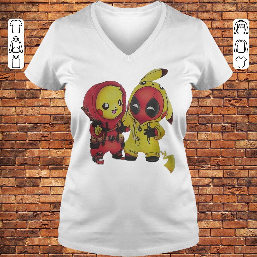 Pikachu and Deadpool shirt Ladies V-Neck