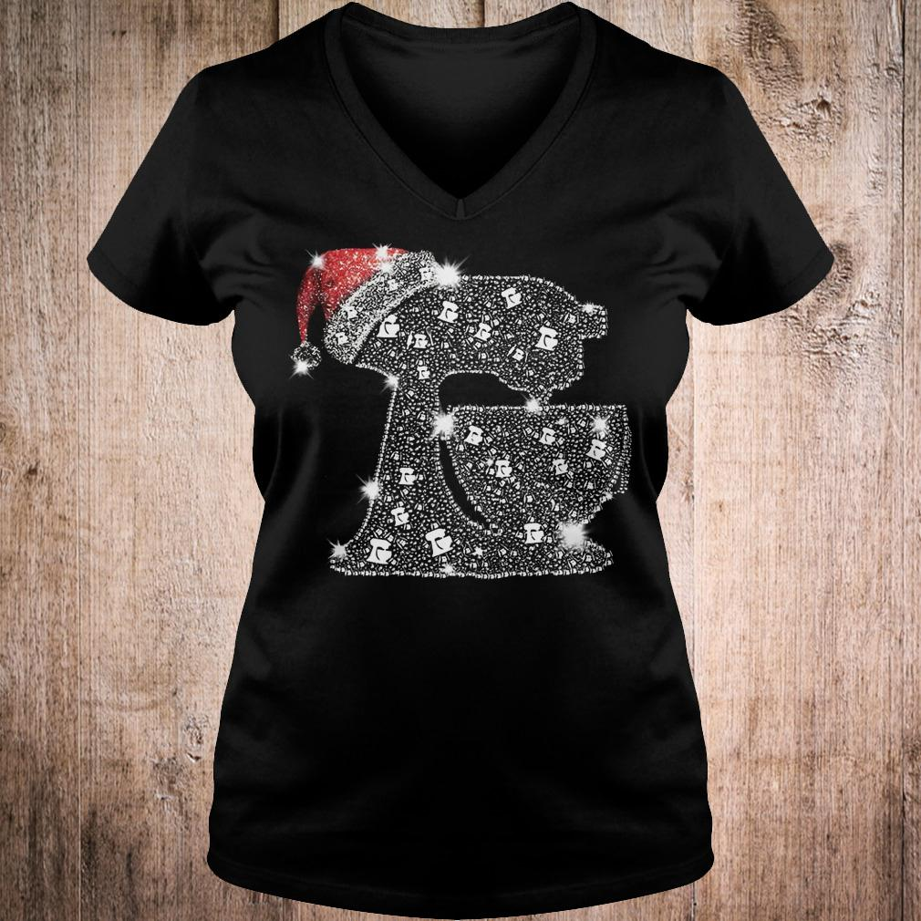 Snoopy Baking Glitter and rhinestones with santa hat shirt Ladies V-Neck