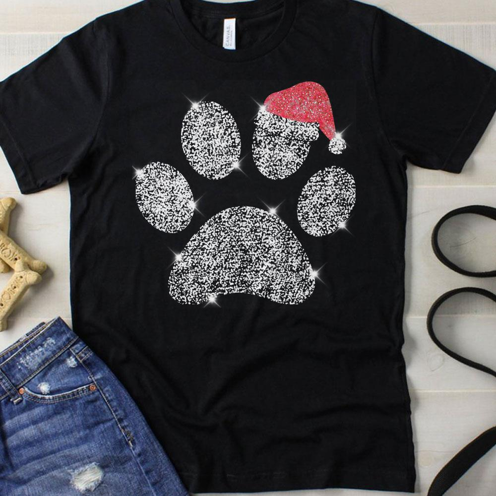 Dog Paw Diamon Glitter Santa Hat shirt