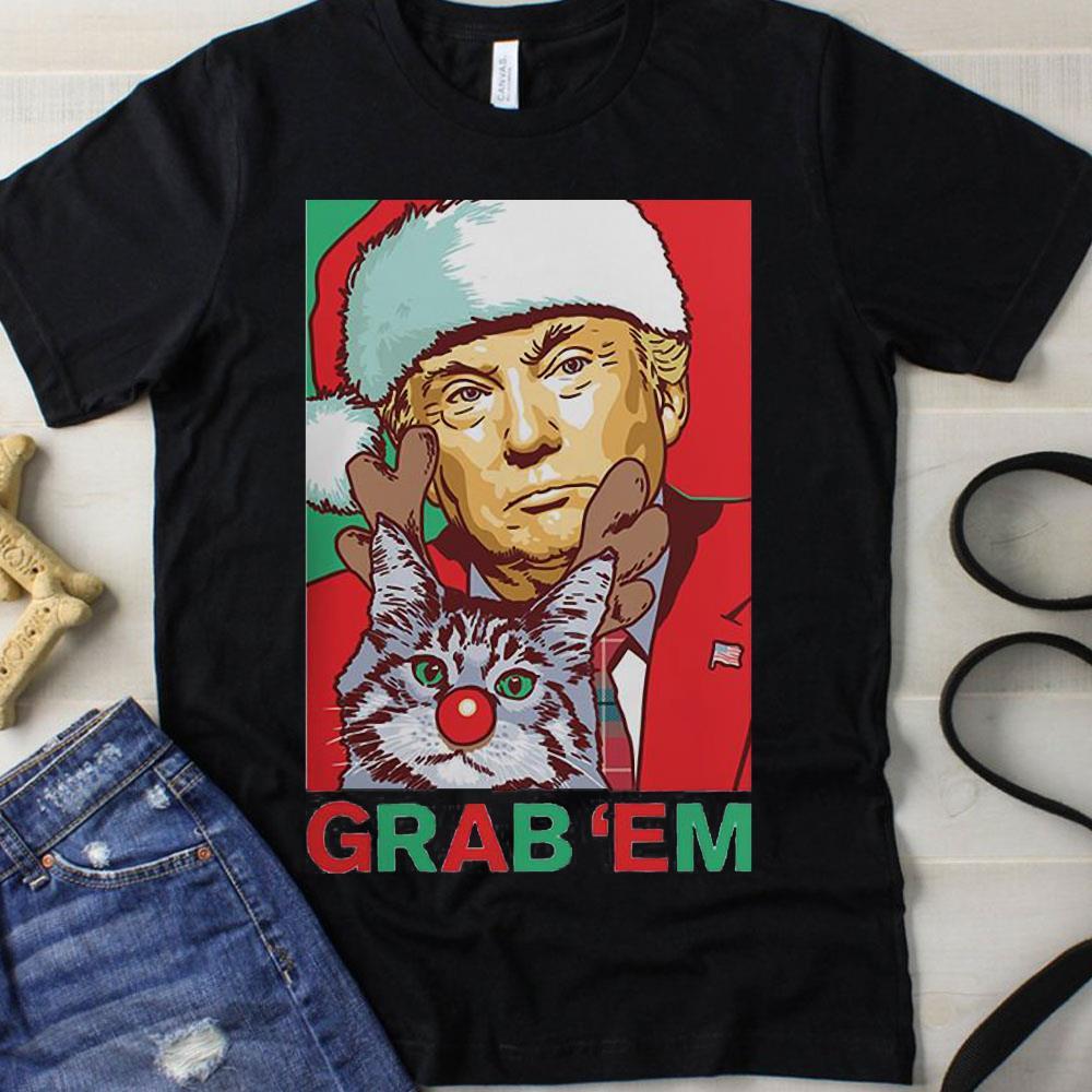 Santa Trump Cat Reindeer Grab Em shirt 1