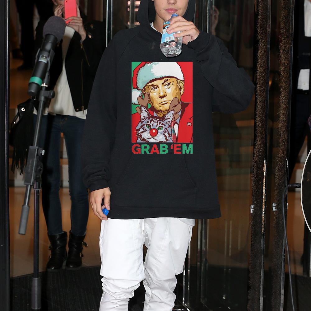 Santa Trump Cat Reindeer Grab Em shirt 2