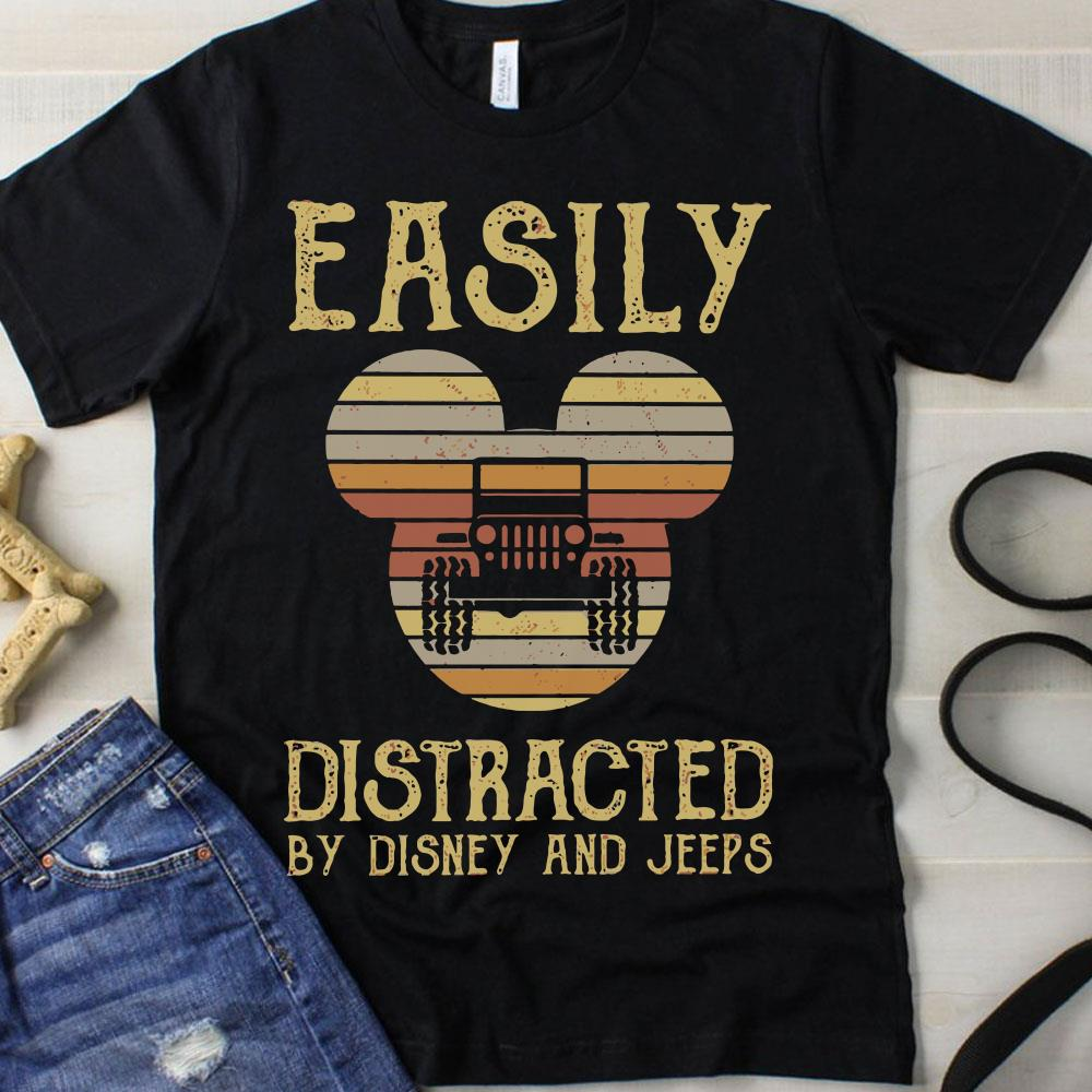 Sunset Easily distracted by Disney and Jeeps shirt