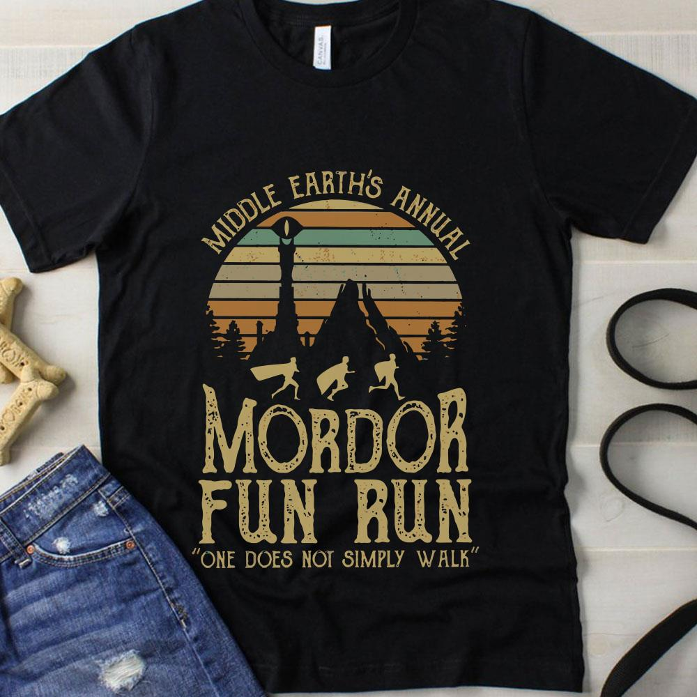 Sunset middle earth's annual mordor fun run one does not simply walk shirt