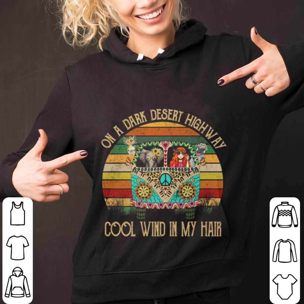 Bus On a dark desert highway cool wind in my hair Hippie Flower Peace shirt